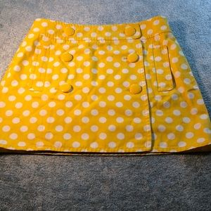 J. Crew yellow polka dot mini skirt